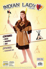 Indian Woman Costume Squaw Fancy Dress Ladies Pocahontas Outfit UK 10 - 14