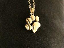 Anhänger 24 Karat Vergoldet Pfote Hund Katze Tier Dog Cat Halskette Schmuck