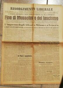 GIORNALE MORTE FUCILAZIONE MUSSOLINI FINE FASCISMO 30 APRILE 1945 WW2 GUERRA