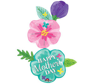 """56"""" Giant Happy Mother's Day Flowing Flowers Multi Balloon Helium Over 4 Feet"""