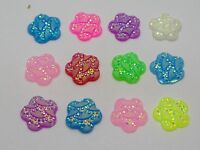 100 Mixed Colour Flatback Resin Flower Cabochon Dotted Wave Rhinestone Gem 12mm