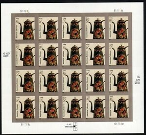 US AMERICANA SERIES 2007 SCOTT #3756A 5 CENT TOLEWARE ART 20 MINT VF STAMP SHEET