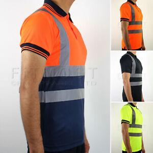 Hi Viz Polo T-Shirt High Visibility Work Polo Reflective Tape Hi Vis Safety Top