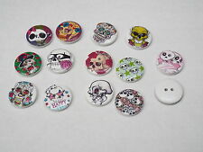 8pc 20mm Skull Painted White Wooden Cardigan Trouser Shirt Kid Baby Button 0267