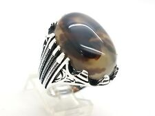 925 STERLING SILVER HANDMADE MEN'S OVAL BROWN AGATE TURKISH OTTOMAN RING 10 USA