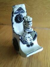 WILFRED GIBSON Cornish Studio Pottery Blue And White Girl in Rocking Chair