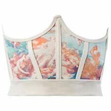 Women Vintage Angel Print Corset Girdle Boned Waist Shaper Underbust Bustier