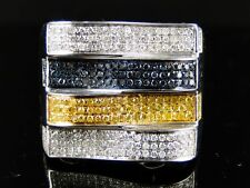 Canary White Blue Diamond Ring 1.10Ct Mens White Gold Pinky Fashion Band Genuine