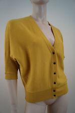 PRINGLE 1815 SCOTLAND Yellow Merino Wool 3/4 Sleeve V Neck Cardigan Top Sz: S