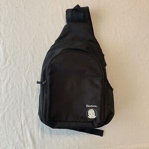 Gerber Diaper Bag Messenger One Strap Adjustable Bottle Back Pack Black Zipper