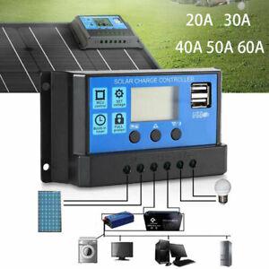 Solar Laderegler LCD PWM Charge Panel Controller Regulator 12V 24V 50A Dual USB
