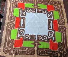 "1970's Vtg Silk Scarf Geometric Orange Chartreuse Browns White 26"" Rolled Hem"