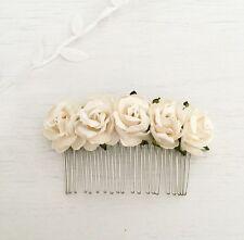 Avorio CARTA ROSE VINTAGE HAIR COMB-Flower Girl-Sposa-Damigella D'onore