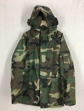 US Army Woodland Camo ECWCS Waterproof Hooded Paka Jacket Sz Large