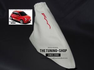 """For Fiat 500 2007-15 Handbrake Boot Leather White """"500"""" Red Embroidery"""