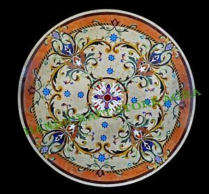 """72"""" Marble Inlay Patio Table Top with Heritage Crafts Coffee & Dinning Table Top"""