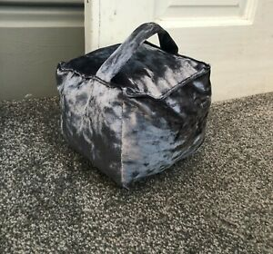 Hand Made Crushed Velvet Square Door Stop  Cover With Handle And Zip Unfilled