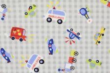 Baumwolle Flanell grau Fahrzeuge kariert