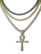 Set of 3 4mm Solitaire Tennis necklace Yellow,Black & Rose Gold with ankh cross