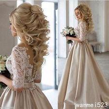 Champagne Bohemian Bride Wedding Dresses A Line Bridal Gowns Custom Size 4-26++