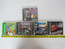 5 PS1 Games Tekken 2 Spongebob Driver Need for Speed Millionaire Playstation One