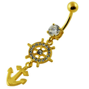 14G Yellow Gold Plated Clear Jewel Ship Helm Anchor  Belly Piercing Jewellery