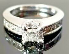 .90TCW Solitaire Princess Diamond Fashion/Engagement 14k white gold band/ring