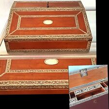 Antique 19 Century Desk French Wood Inlaid Traveling Secretary Desk