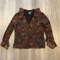 LRL Lauren Ralph Lauren Womens Size 12 Silk Paisley Ruffle Blouse Pullover Top