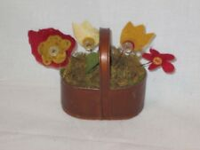 Miniature Primitive Craft Flowers in Bucket New