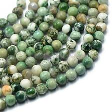 8mm Nature Dark Green Tree Agate Gemstone Round Loose Beads Strand 15""