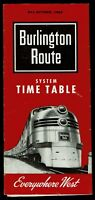 ⫸ 569 Burlington Route Condensed Public Timetable Schedules May-Oct 1962