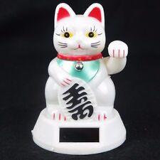 "White Maneki Neko Japanese Beckoning Fortune Money Lucky Cat Solar Power 5"" New"