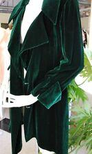 VINTAGE KATHRYN DIANOS FOREST GREEN VELVET LONG JACKET RAKISH PIRATE LOOK