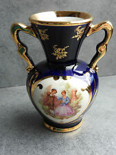VASE AMPHORE EN PORCELAINE DE LIMOGES DÉCOR MAIN* FRAGONARD * VITRINE DECORATION