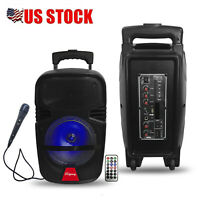 """8"""" Portable BT Bluetooth Speaker Subwoofer Heavy Bass Sound System Party w/ Mic"""