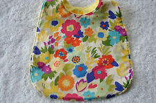 Multi-Coloured Flowers On White Bib Cotton Front Towelling Back Handmade