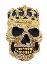 Mens Womens Skull Belt Buckle Skeleton Crown Gold Rhinestone Metal Gothic Tribal