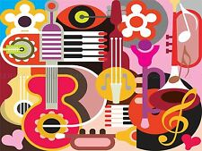 PAINTING ILLUSTRATION CARTOON MUSICAL INSTRUMENTS COLLAGE PRINT POSTER MP3072A