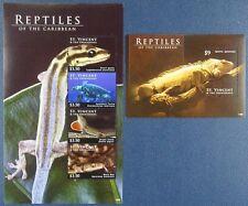 St. Vincent 2012 Reptilien Reptiles Gecko Schlange Iguana 7120-23 + Bl.731 MNH