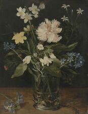 """oil painting handpainted on canvas"""" Still Life with Flowers in a Glass """"@10978"""