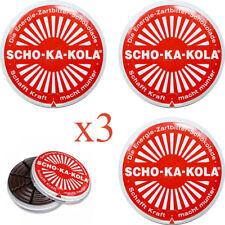3x German Energy Dark Chocolate SCHO-KA-KOLA Caffeine & Cola Nut 100 g tin can