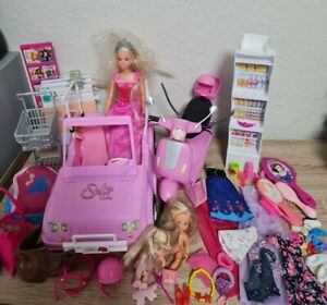Konvolut Simba Toys Barbie Steffi Supermarkt Roller Kleidung Kinder Reitzubehör