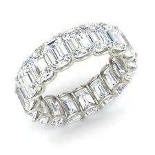 Certified 10.33 Ctw Emerald Cut Topaz 10k White Gold Full Eternity Band Ring