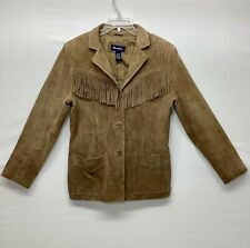 DENIM & CO. Size M Western 100% Leather Fringed Tassels Button Down Coat Jacket