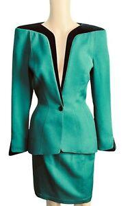 Vintage Thierry Muglar Green Black Wool 2 pc Skirt Jacket Blazer Dress Suit - 40