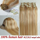 120g 7PCS CLIP IN EXTENSIONS 100% NEW REAL HUMAN HAIR FULL HEAD THICK STYLE HOT!