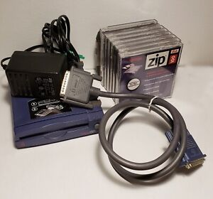 Iomega Zip 100 Z100P2 Parallel Port Drive w/Cable & Adapter & 9 Disks One Owner