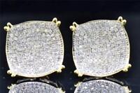 Mens Ladies 10K Yellow Gold Round Cut Diamond Circle Studs Earrings 1.10 Ct.