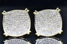 Mens Ladies 10K Yellow Gold Round Cut Diamond Circle Studs Earrings 1.10 Ct.